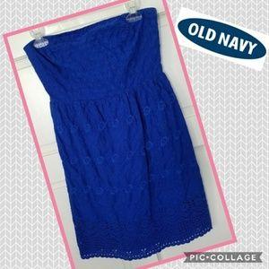 🔺 Strapless Eyelet Blue Tube Dress {Old Navy}